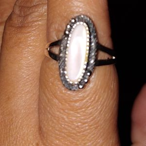 Silver pink Abalone Ring